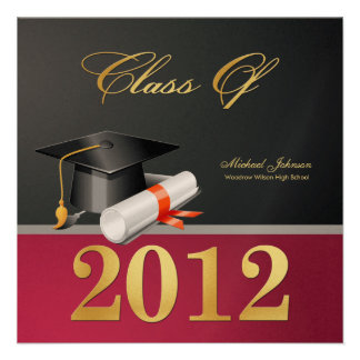 Elegant Black Maroon and Gold Class of 2012 Personalized Announcement