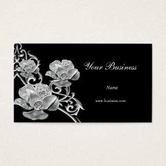 Elegant Black Metal Silver Look  Jewel Floral Business Card