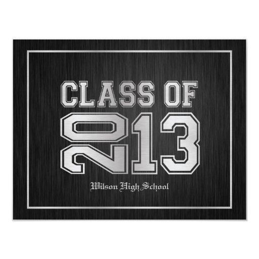 Elegant Black & Metallic Silver Class of 2013 Personalized Announcement