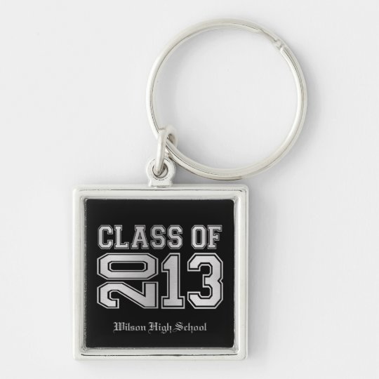 Elegant Black & Metallic Silver Class of 2013 Keychain