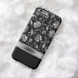 Elegant Black & Metallic Silver Damasks Barely There iPhone 6 Case