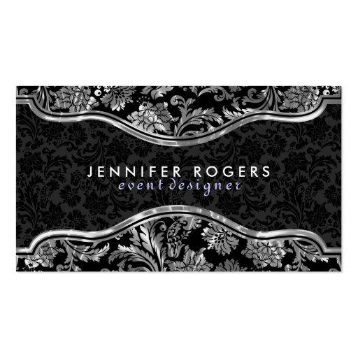 Elegant Black & Metallic Silver Vintage Damasks Business Cards