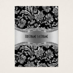 Elegant Black & Metallic Silver Vintage Damasks Business Card at Zazzle