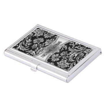 Professional Business Elegant Black & Metallic Silver Vintage Damasks Business Card Holder