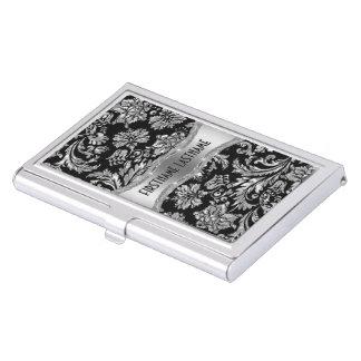 Elegant Black & Metallic Silver Vintage Damasks Case For Business Cards