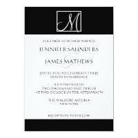 Elegant Black Monogram Initial Wedding Invitation
