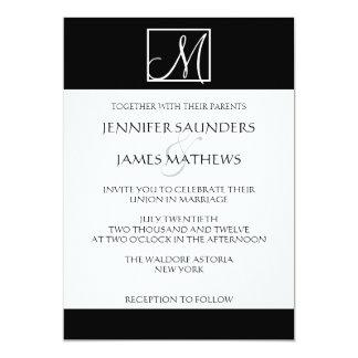 "Elegant Black Monogram Initial Wedding Invitation 5"" X 7"" Invitation Card"