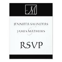 Elegant Black Monogram Initial Wedding RSVP Card