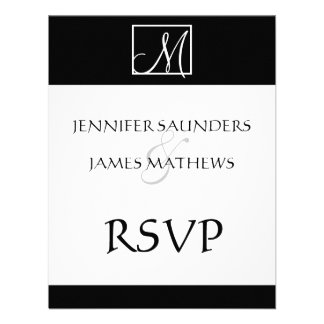 Elegant Black Monogram Initial Wedding RSVP Card Custom Invitations