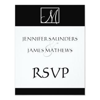 "Elegant Black Monogram Initial Wedding RSVP Card 4.25"" X 5.5"" Invitation Card"