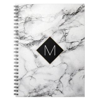 elegant black monogram on white marble texture notebook