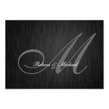 Elegant Black Monogram Wedding RSVP Card Invites