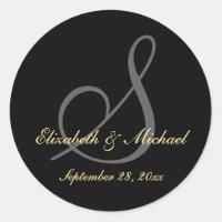 Elegant Black Monogram Wedding Save Date Stickers