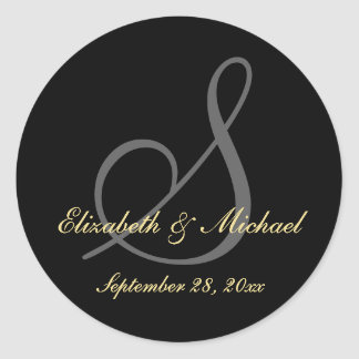 Elegant Black Monogram Wedding Save Date Stickers