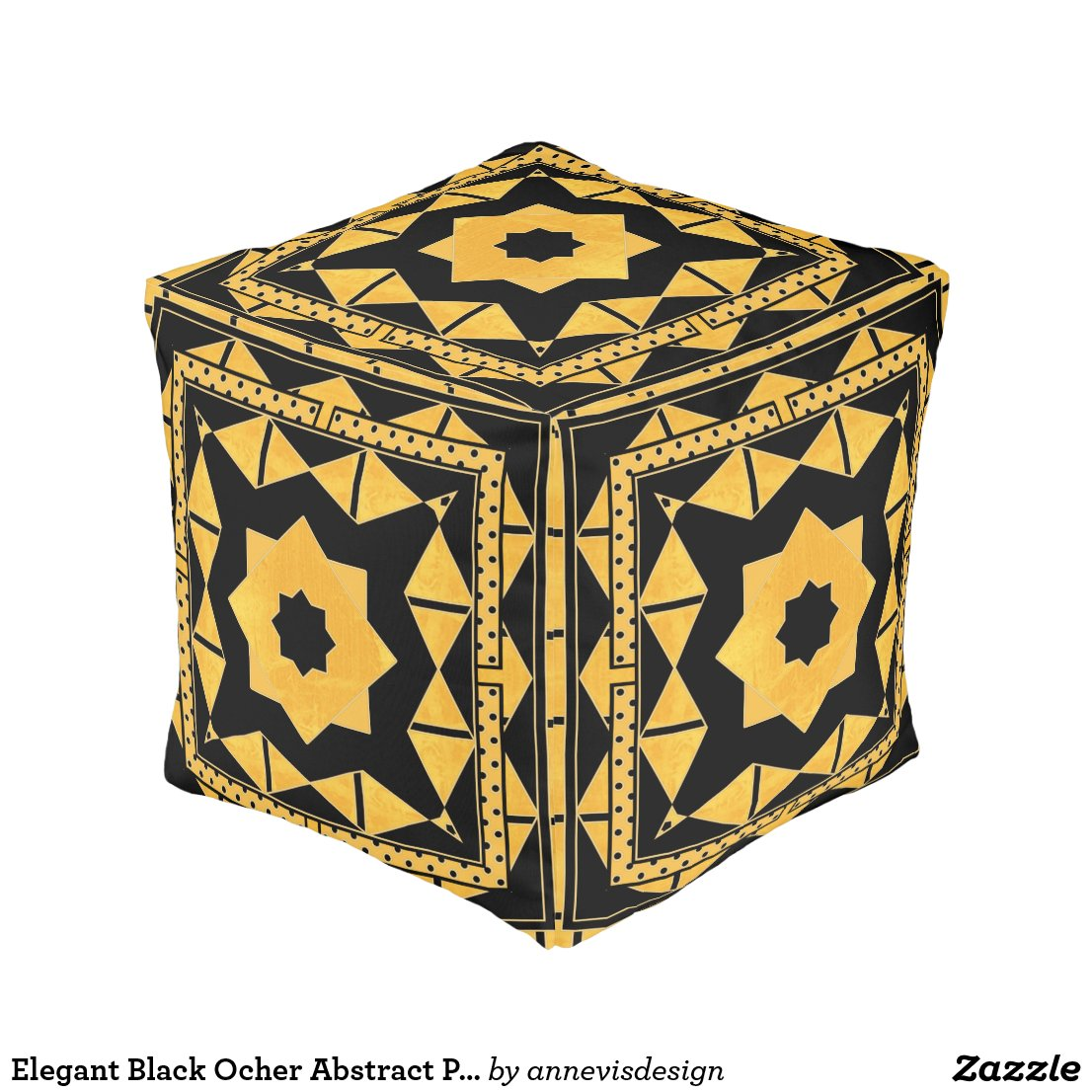 Elegant Black Ocher Abstract Patterned Pouf