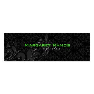 Elegant Black On Black Vintage Floral Damasks Double-Sided Mini Business Cards (Pack Of 20)