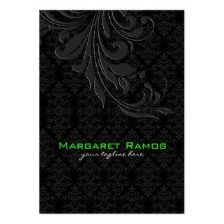 Elegant Black On Black Vintage Floral Damasks Large Business Card