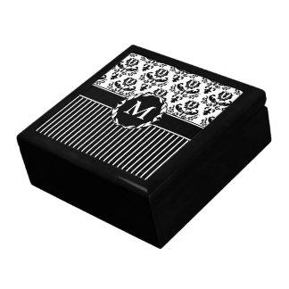 Elegant Black on White Damask Keepsake Boxes