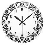 Elegant Black on White Damask Round Wall Clocks