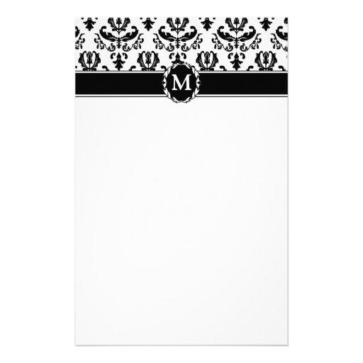 Elegant Black on White Damask Custom Stationery