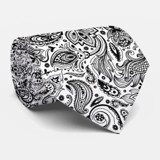 Elegant Black On White Floral Paisley Pattern Neck Tie