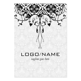 Elegant Black On White Look Vintage Floral Damasks Large Business Cards (Pack Of 100)