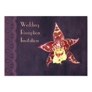 Elegant black orchid deco wedding reception invite
