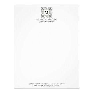 Elegant Black Ornamental Frame Monogram Letterhead