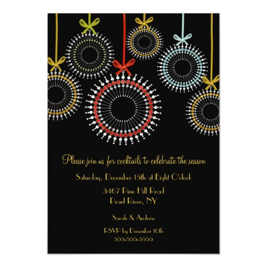 Elegant Black Ornaments Holiday Party Invitation