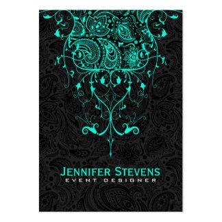 Elegant Black Paisley & Teal-Green Floral Lace Large Business Card