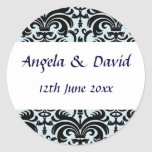 Elegant Black & Pale Blue Envelope Seal Round Stickers