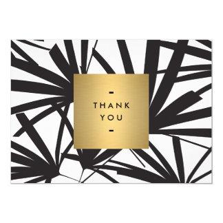 Elegant Black Palm Fronds Thank you Notecard