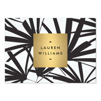 Elegant Black Palm Fronds with Gold Name Notecard