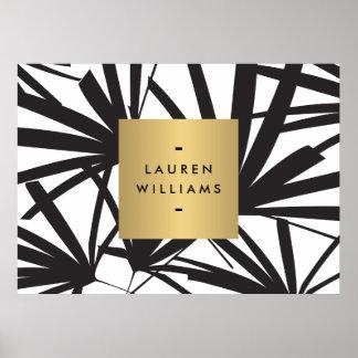 Elegant Black Palm Fronds with Gold Nameplate Logo Poster