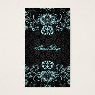 Elegant Black & Pastel Blue Floral Swirls Business Card