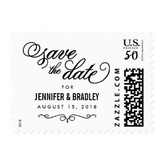Elegant Black Personalized Save the Date Postage