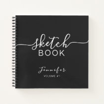 Elegant Black Personalized Sketchbook Your Name Notebook