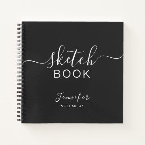 Elegant Black Personalized Sketchbook Your Name Notebook