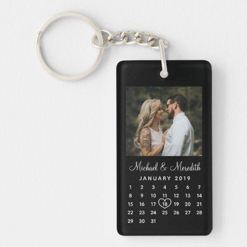 Elegant Black Photo Wedding Anniversary Calendar Keychain