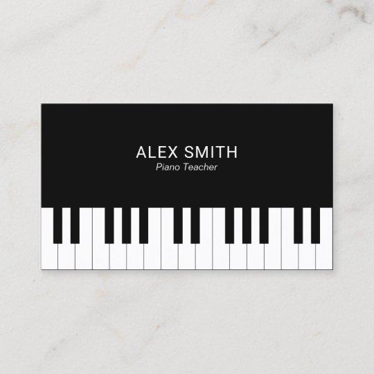 Elegant Black Piano Teacher Business Card