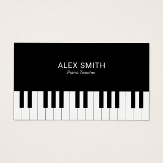 Elegant Black Piano Teacher Business Card