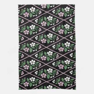 Elegant Black Pink and White Floral Pattern Hand Towels