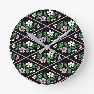 Elegant Black Pink and White Floral Pattern Round Clock