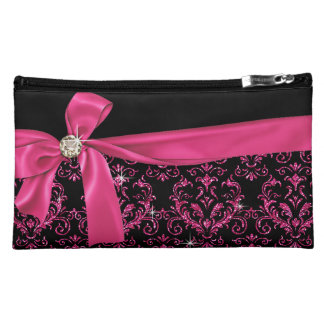 Elegant Black Pink Damask Diamond Bow Cosmetic Bag