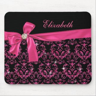 Elegant Black Pink Damask Diamond Bow Custom Mouse Pad