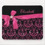 Elegant Black Pink Damask Diamond Bow Custom Mouse Pads