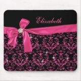 Personalizable Elegant Black Pink Damask Diamond Bow Custom Mouse Pads