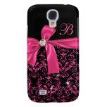 Elegant Black Pink Damask Diamond Bow Monogram Samsung Galaxy S4 Cover