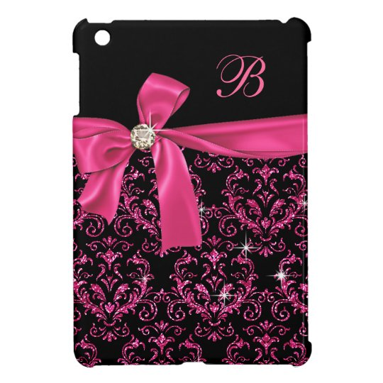 Elegant Black Pink Damask Diamond Bow Monogram iPad Mini Cover