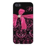 Elegant Black Pink Damask Diamond Bow Monogram iPhone 5 Cases